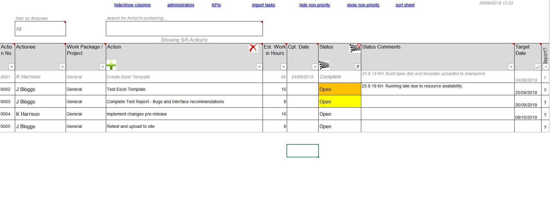 editable action tracker