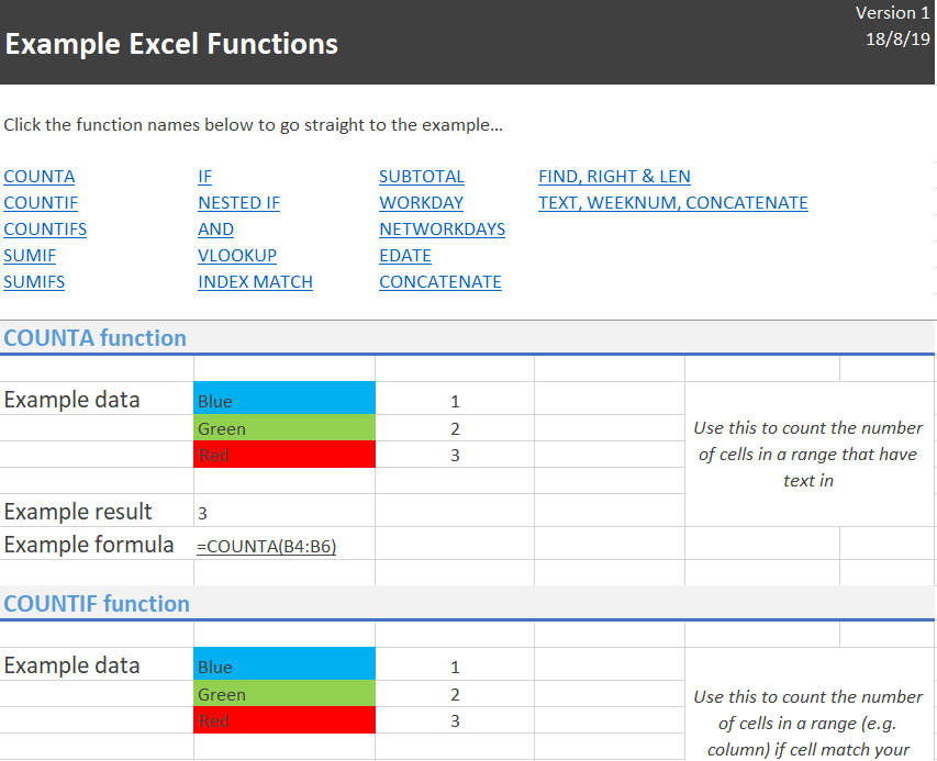 example excel functions