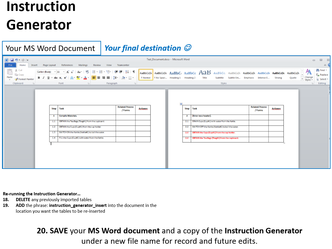 word instruction table creator excel